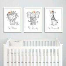 Neutral Grey Floral Boho Animal Nursery Prints Childrens Bedroom Pictures Decor