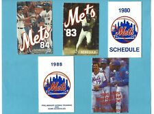 New York Mets Lot of 5 Different 1980's Pocket Baseball Schedules