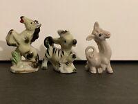 3 Vintage Animal Figurines Porcelain Zebra Horse Llama Japan Anthropomorphic