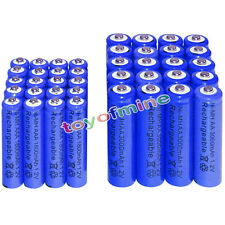 20 AA 3000mAh + 20 AAA 1800mAh battery Bulk Nickel Hydride Rechargeable 1.2V Blu