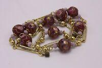 Italian Venetian Murano Art Glass Wedding Cake Plum Bead Chain Necklace Vtg