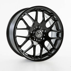 VW TRANSPORTER T5 T6 T7 18 INCH ALLOY WHEELS BLACK GLOSS LOAD RATED 8J X 4