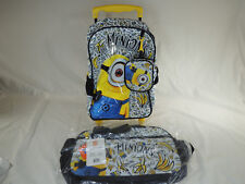 "Despicable Me Minions BANANAS 14"" Rolling Roller Backpack Pouch & Duffel Bag 3pc"