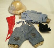 Tender Heart Treasures Bear or Doll Costume Fall Scarecrow Overalls, Hat & Crow