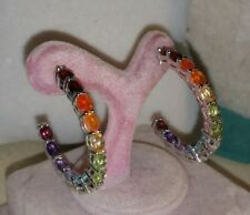 Chuck Clemency Sterling silver Rainbow in & out multi gemstone hoop Earrings new