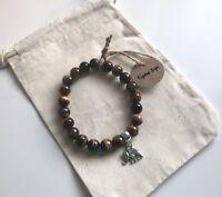Tigers Eye Gemstone Silver Elephant Charm Elasticated Bracelet New in Gift Bag