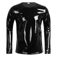 Men's Faux Leather Top Vest Undershirt Gym Muscle Tank Top Clubwear T Shirt New