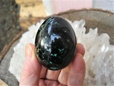 Black Tourmaline with Chrysocolla Inclusions Egg-From Peru-Rare Combo-Powerful!