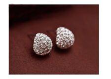 Women's Elegant Silver Sparkly Rhinestone Crystal Stud Earrings Jewellery Gift