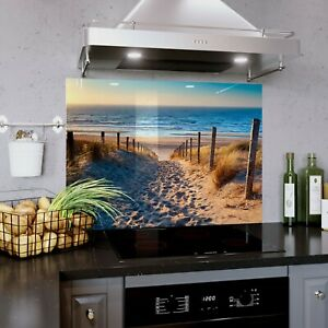 Glass Splashback Kitchen Tile Cooker Panel ANY SIZE Sea View Beach Ocean 0333