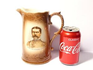 "Boer War Souvenir Lord Kitchener of Khartoum Portrait Pottery Water Jug 7"" #2"