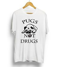 Pugs Not Drugs T-shirt Funny Cute Tee Animal Dog Puppy Lovers Gift Top Unisex