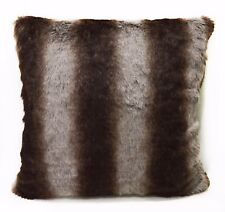 fp751a Brown Gray Stripe Soft Faux Fur Cushion Cover/Pillow Case*Custom Size*