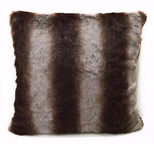 fp751a Brown Gray Stripe Soft Faux Fur Cushion Cover/Pillow Case*Custom Size*