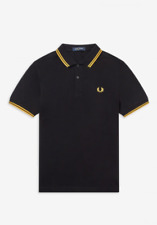 Fred Perry Polo Shirt Mens Black M3600 Twin Tipped in Yellow XL