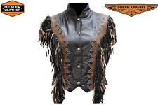 LADIES LEATHER WESTERN SHOW VEST WITH STUDS AND FRINGE LV422 BIKER APPAREL