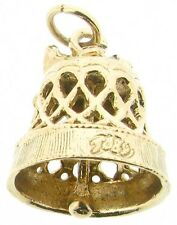 Gold charms 9Carat 9ct yellow wedding bell church ringing gong filigree bow bell