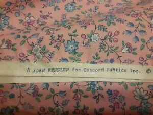 Vtg. Fabric New Joan Kessler Pink/Blue Floral 100 % cotton