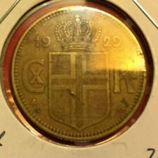 1929 Iceland 2 Krona coin, low mintage, Nice grade, L32