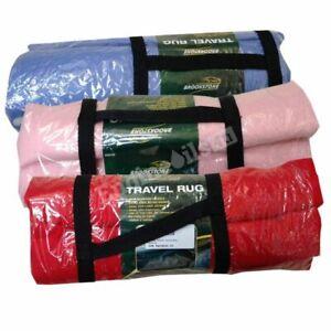 Travel Rug Fleece Blanket Pink Blue Red 150cm x 125cm Carry Handle