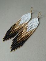 Fringe Beaded Earrings Black White Seed Bead earrings Gold earrings handmade