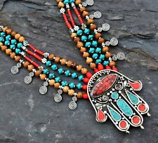 Nepal Tibetan Silver Hamsa Hand Necklace Coral Turquoise Beaded Ethnic Jewelry