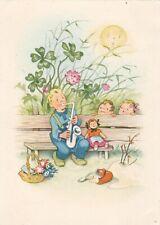 1953 FRITZ BAUMGARTEN Musician boy w/ saxophone toys old German postcard