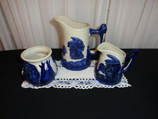 Lot of 3 PIECES REPRODUCTION SLEEPY EYE  COBALT BLUE STONEWARE POTTERY