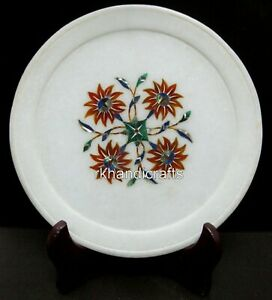 08 Inches Marble Business Plate with Beautiful Flower Art Collectible plate