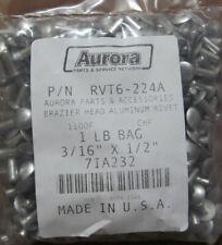 1-LB BAG (180) USA MADE SOLID ALUMINUM RIVETS BRAZIER HEAD 3/16