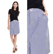 NWT Banana Republic BR Cotton Skirt Shirttail Striped Pencil Blue White 6 S M