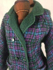 Ladies True Vintage 60s Coat Size 14-16 Reversible Tweed/Mohair Purple/Green