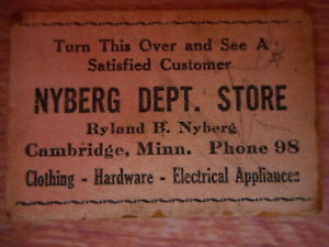 Ryland Nyberg Cambridge MN Minnesota Department Store Vintage Advertising Card