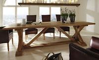 Esstisch Tisch aus massiver BALKENEICHE 180 x 100 cm,  Modell Versailles