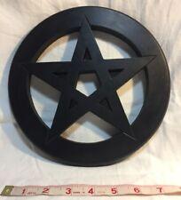 "Pentagram Wall Hanging/Altar Tile - Wooden 9"" Diameter, Black SP562"