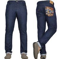 Mens Embroidery Slim Jeans Stretch Straight Leg Denim Pants By VON DENIM New
