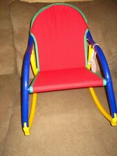 New listing Hoohobbers Rocking Chair, Red seat blue and yellow frame New with Tags