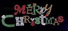 "Rhinestone Iron on heat Transfer Hot Fix Bling "" colorful merry christmas """