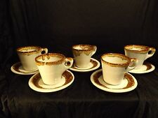 Pfaltzgraff Country Casual White/Brown Drip Set of 5 Cups and Saucers