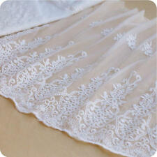 "1 yards Lace Trim Ivory Tulle Cotton Retro Embroidery Floral Wedding 18.9"" width"