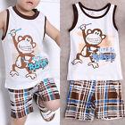 2pcs Newborn+Toddler Kids Baby Boys Summer T-shirt Tops+Pants Clothes Outfit Set