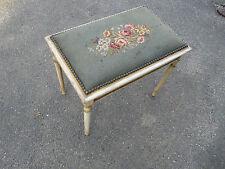 Vintage Elegant European Style Bench Stool Floral Needlework Seat shabby chic