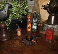 """PRIMITIVE 6 1/2"""" STAR GRUNGY WAX LED CANDLE LAMP LIGHT  4"""" TEA CUP AS IS RETIRED"""
