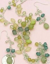 Silver Beaded Chain with Peridot Chips