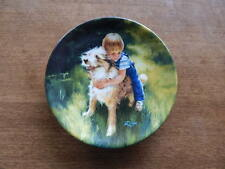 BACKYARD BUDDIES  by Donald Zolan  Miniature Plate Honoring Man's Best Friend