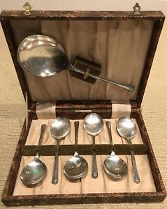 Boxed Set Vintage SilverPride EPNS A1 Sheffield England Dessert & Serving Spoons