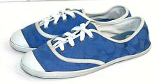 Coach Bellamy Womens Low Top Canvas Fashion Sneakers Blue and White size 8