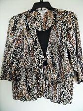 ALLISON DALEY Brown Tan Black Graphic Print Stretch Knit Top Size PL