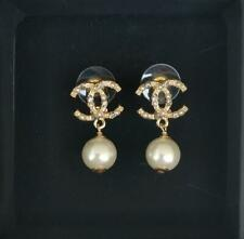 CHANEL  Stud Dangle Drop Faux Pearl Earrings