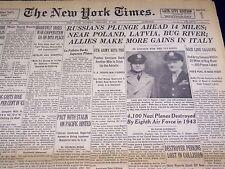 1944 JANUARY 2 NEW YORK TIMES NEWSPAPER - RUSSIANS NEAR POLAND - NT 2375
